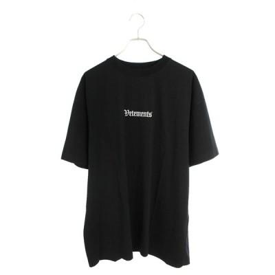 ヴェトモン VETEMENTS 20AW UAH21TR503 BLACK ロゴエンブロイダリーオーバーサイズTシャツ【NO05】【507002】