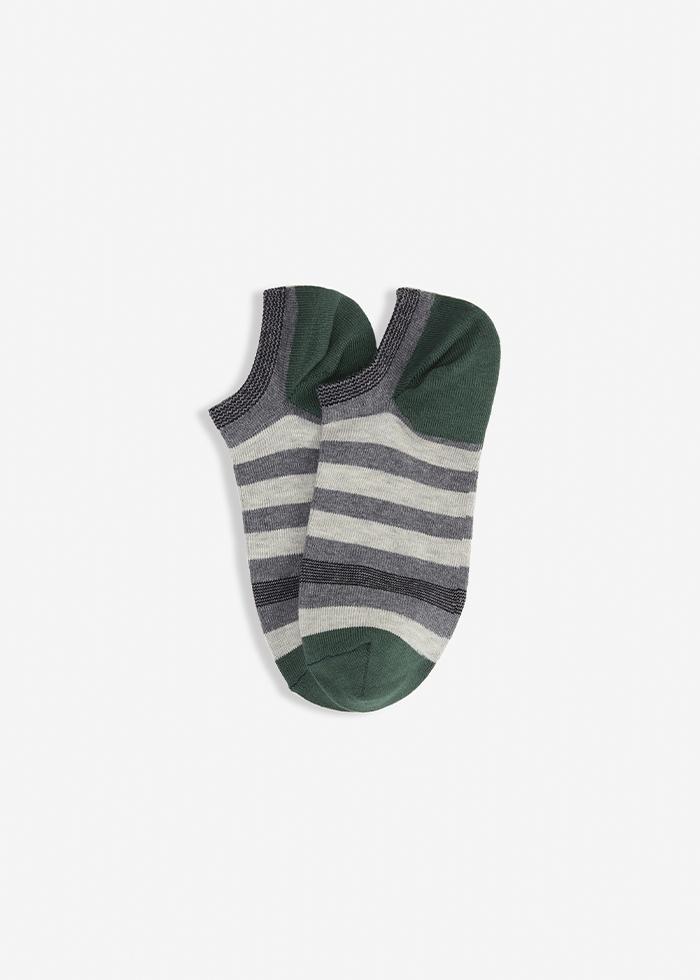 (男款)城市光影.舒棉船型襪(灰/綠條紋)
