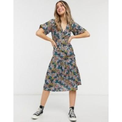 ニュールック レディース ワンピース トップス New Look tier hem midi dress in mixed ditsy floral Black pattern