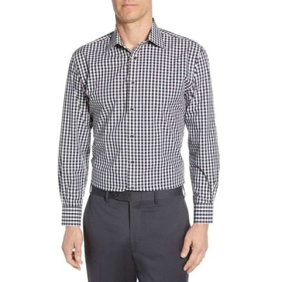 ノードストローム NORDSTROM MEN'S SHOP メンズ シャツ トップス Tech-Smart Traditional Fit Stretch Check Dress Shirt Black Rock
