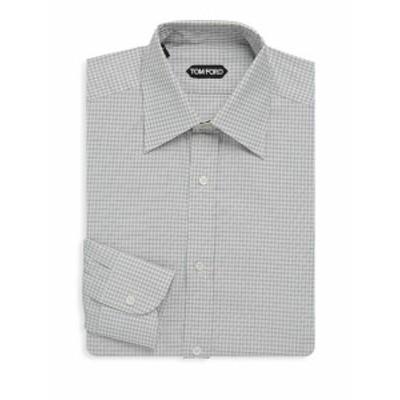 トムフォード メンズ ドレスシャツ ワイシャツ Micro Check Cotton Dress Shirt