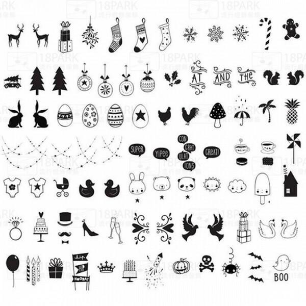 18park-燈箱慶典符號組 [pvc,黑色]