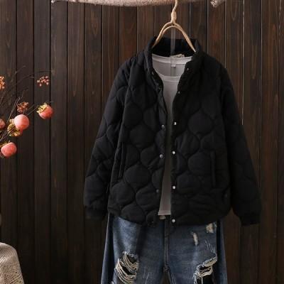 大きいサイズ キルティングジャケット レディース 冬 ショート丈 無地 キルティング ゆったり カジュアル シンプル エレガント お出かけ 軽い 黒