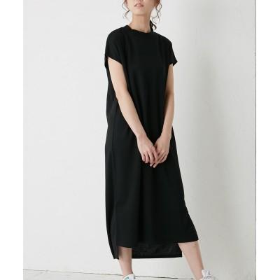 きれい見えポンチ素材♪プチハイネックフレンチロングワンピース (ワンピース)Dress