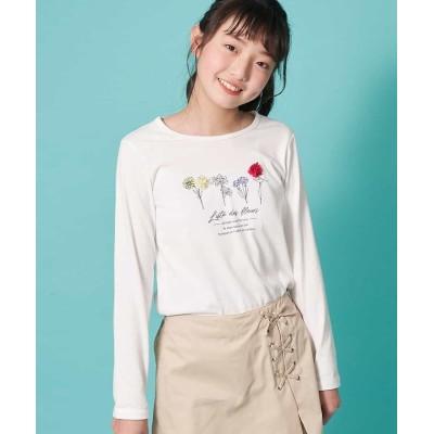 (a.v.v(KID'S)/アーヴェヴェ キッズ)[100-130]ボタニカルフラワープリントTシャツ[WEB限定サイズ]/キッズ ホワイト