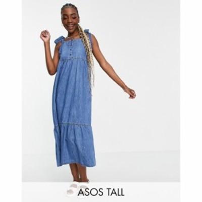 エイソス ASOS Tall レディース ワンピース デニム Aライン ワンピース・ドレス Tall Soft Denim Tiered Midi Dress In Midwash ブルー
