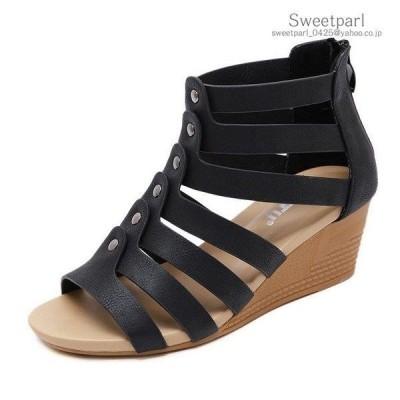 ウェッジ ストラップ サンダル 低反発インソール 厚底サンダル 歩きやすい レディース 靴 ブーサン ブーツサンダル 柔らか シューズ