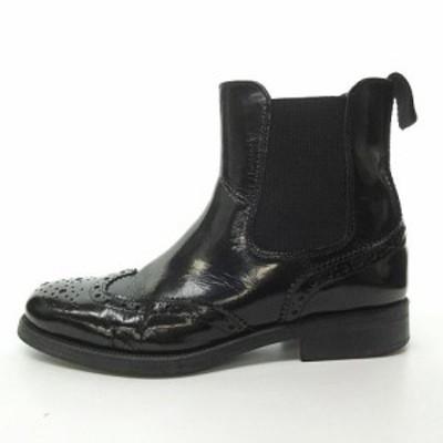 【中古】ボエモス BOEMOS サイドゴアブーツ カントリーブーツ 革靴 シューズ ウィングチップ メダリオン イタリア製 37 約24cm
