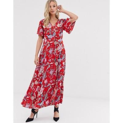 ワイエーエス レディース ワンピース トップス Y.A.S floral satin wrap maxi dress