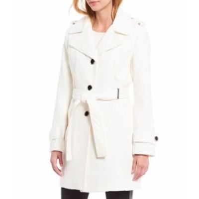 カルバンクライン レディース コート アウター Belted Faux Wool Trench Coat White