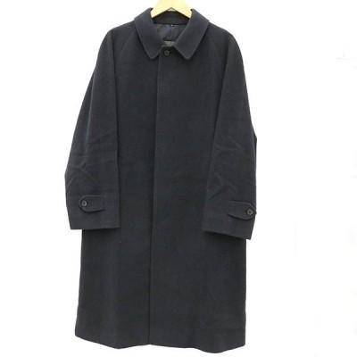 SANYO コート ネイビー 羊毛70% アンゴラ30% 表記サイズL アウター ファッション 紺 アイテム 洋服 【kk】【中古】