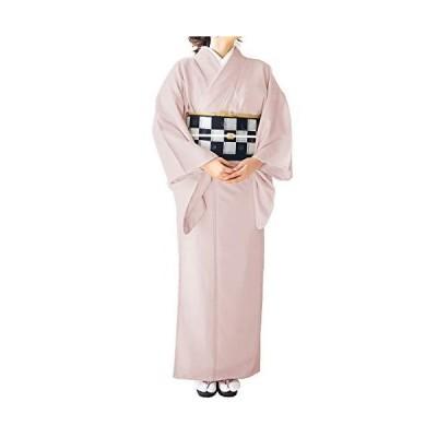 [キョウエツ] 着物 袷 色無地 地紋入り 東レ レディース (L, 2.灰桜)