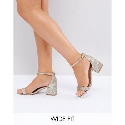 エイソス レディース サンダル シューズ ASOS HONEYDEW Wide Fit Heeled Sandals Gold