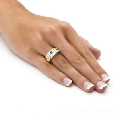 Palm Beach Jewelry Princess-Cut White Cubic Zirconia 14k Yellow Gold-P