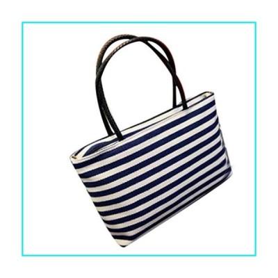 NEWONESUN Summer Canvas Shoulder Bag Striped Beach Bags Women Casual Shopping Handbag【並行輸入品】