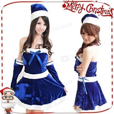 即納 クリスマス コスプレ 仮装 サンタ 衣装 安い レディース 女性用 ワンピース サンタドレス コスチューム 赤 ブルー