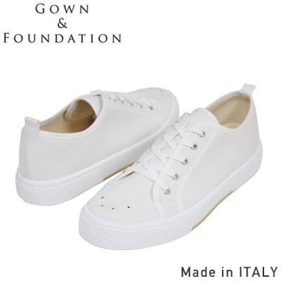 Gown&Foundation Garments × BLU-STAR キャンバス スニーカー WHITE メンズ テニス シューズ ホワイト ガムソール イタリア製 男性用 送料無料