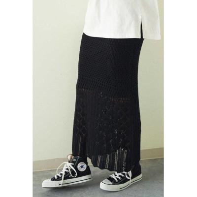 (FREE'S MART/フリーズマート)◆透かし編みニットタイトスカート/レディース ブラック