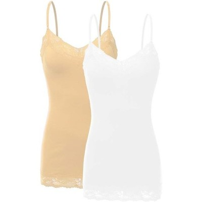 キッズ 衣類 トップス Women's Junior & Plus Adjustable Spaghetti Strap Lace Trim Tunic Tank Top - (2 Pack - White/Taupe Small)