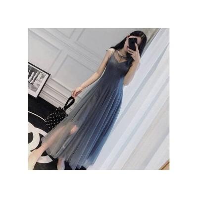 ワンピース ドレス パーティードレス ロング ワンピースドレス 袖なし マキシ チュール 透け感 ふんわり シンプル フェミニン スレンダー ペールトーン 20