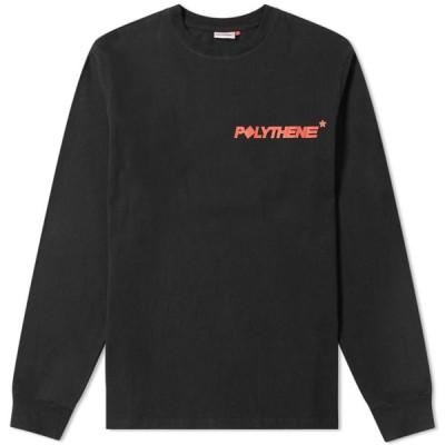 ポリシーン オプティクス Polythene Optics メンズ 長袖Tシャツ ロゴTシャツ トップス Long Sleeve Logo Tee Black