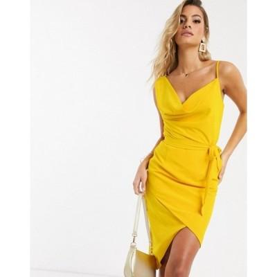 ラビッシュアリス レディース ワンピース トップス Lavish Alice cowl neck midi wrap dress in yellow