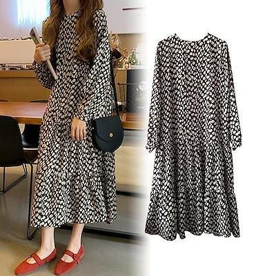2020ドット柄ワンピース 韓国ファッション 春ワンピース 超低価 長袖 着痩せ効果 ロング ワンピ 高品質 大人気