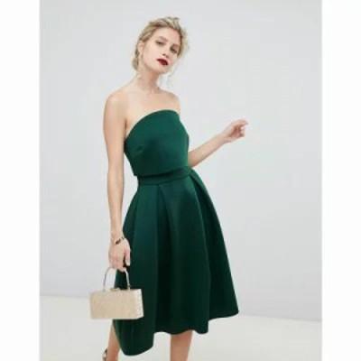 エイソス ワンピース Bandeau Crop Top Prom Midi Dress Bottle green
