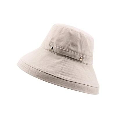 Aoke(アオケ)UVカット 帽子 レディース uv帽 hat 熱中症予防 女優帽 日よけ ワイヤー入る ハット 取り外すあご紐 自