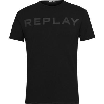 リプレイ Replay メンズ Tシャツ ロゴTシャツ トップス Tonal Logo T Shirt Black
