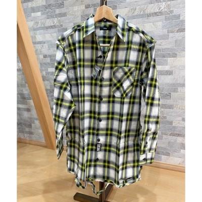 シャツ ブラウス オーバーサイズ ダメージ リメイク チェックシャツ 「S-MACHITO」