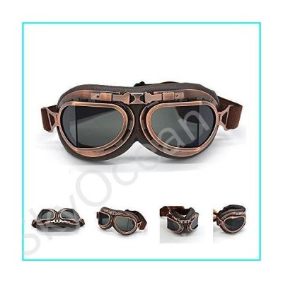 evomosa Motorcycle Goggles Vintage Pilot Style Cruiser Scooter Goggle Outdoor Sand Goggles Bike Racer Cruiser Touring Eyewear for Half Helme
