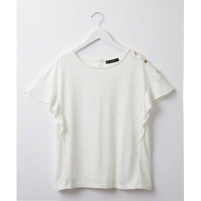 肩ボタン袖フリルトップス (Tシャツ・カットソー)(レディース)T-shirts, テレワーク, 在宅, リモート