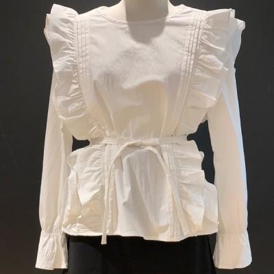 サイド フリル コットン ブラウス シャツ デザイン トップス レディース 長袖 かわいい 白 黒 カジュアル おしゃれ 女性 シャツ 20代 30代 40代 大人