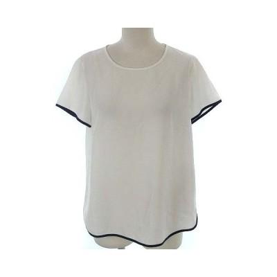 【中古】デミルクス ビームス Demi-Luxe BEAMS 配色 パイピング ブラウス プルオーバー 半袖 ホワイト 白 36 ●IBS77 レディース 【ベクトル 古着】