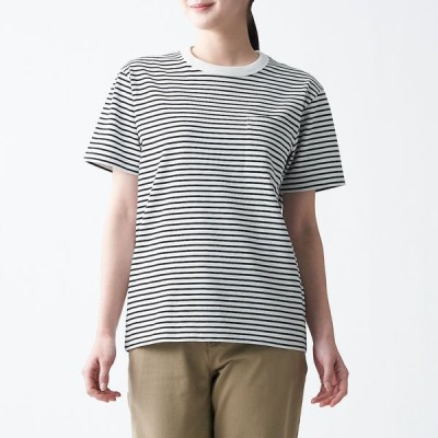 無印良品 太番手天竺編みクルーネックTシャツ 婦人 S 黒ボーダー 良品計画