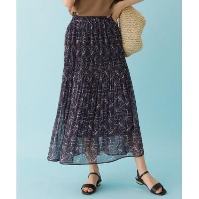 SHOO・LA・RUE/DRESKIP(シューラルー/ドレスキップ) 【M-LL】フラワーマジョリカ消しプリーツスカート
