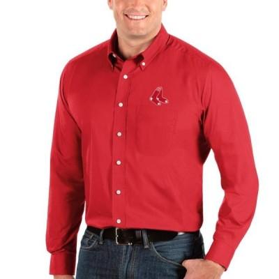 ユニセックス スポーツリーグ メジャーリーグ Boston Red Sox Antigua Big & Tall Dynasty Button-Down Long Sleeve Shirt - Red