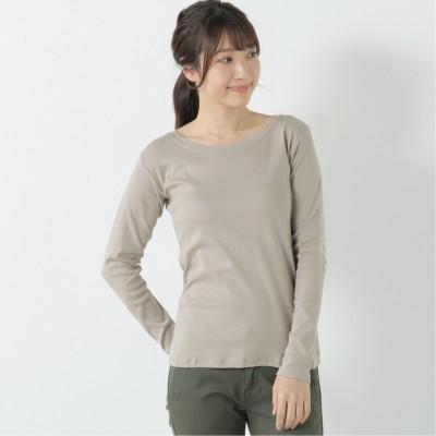 フライス生地でしっかりした綿混長袖Tシャツ【M―4L】(manoamano/マノアマノ)