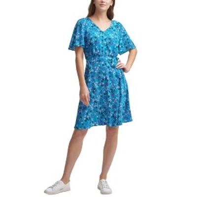 カルバンクライン レディース ワンピース トップス Ditsy-Floral-Print A-Line Dress Cerulean Multi