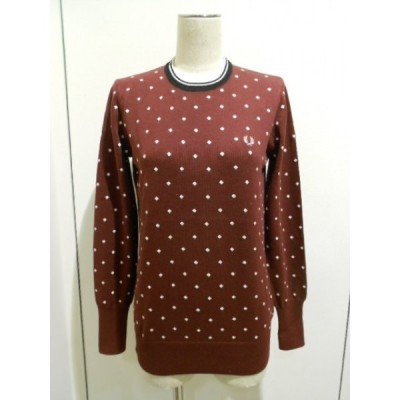 FRED PERRY (フレッドペリー) Women - Embroidered Diamond Long Sleeve Crew Neck Sweater (SK3726/122)