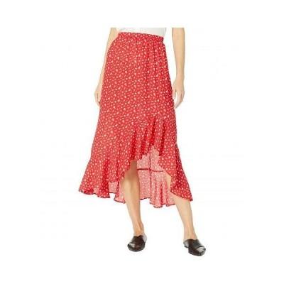 MAXSTUDIO レディース 女性用 ファッション スカート Ruffle Hem Maxi Skirt - Red/Coral