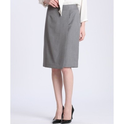 INED ピンストライプラップデザインスカート