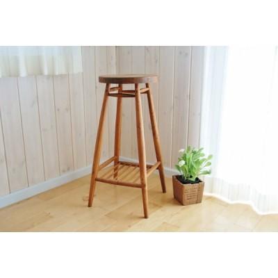 Creer クレエ  ハイ スツール  ブラウン   天然木 パイン材 使用 丸椅子  9160-0130  91600130 茶色 消毒液 スタンド
