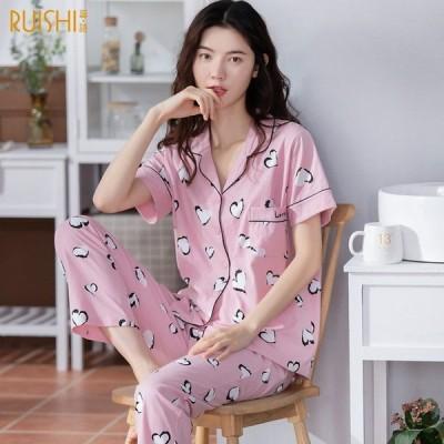 パジャマ レディース 半袖 前開き 夏 シャツ+ロングパンツ コットン ルームウェア 上下セット ハートプリント 寝巻き 部屋着 女性用 柔らか