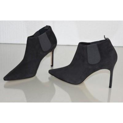 ハイヒール マノロブラニク Manolo Blahnik LINUSPLA 90 Suede Ankle Bootie Boots Shoes Grey 36 36.5