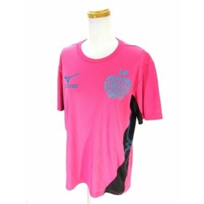 【中古】ミズノ MIZUNO Tシャツ カットソー 半袖 プリント ピンク 桃色 L レディース