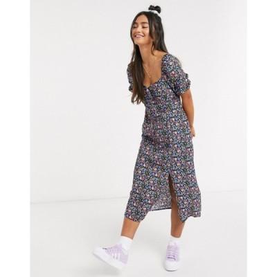 ブレーブソウル レディース ワンピース トップス Brave Soul short sleeve midi dress in floral print