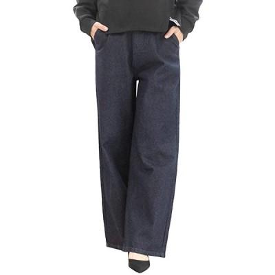 OW ゆったり ワイド ベイカー パンツ 大きい サイズ レデイース レディス 女 女性 女子 女の子(ワンウォッシュネイビー, 3L)