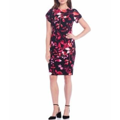 カルバンクライン レディース ワンピース トップス Floral Printed Short Tulip Sleeve Sheath Dress Pesimmon Multi